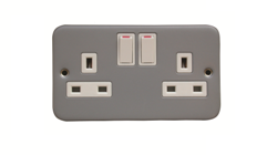 Double Pole Switched Electrical Socket Polycarbonate & Metal Clad Accepts 3 Pin Plug. White Plastic, Electric Cable Accessories. Not with Pattress Box