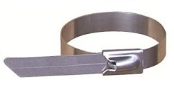 304 Grade Stainless Steel Cable Tie with Single Ball Lock Roller Ball Type in Uncoated Metal