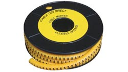 Yellow Cable Markers for Identification and Marking. Reel Of 1000 Characters/ Numbers