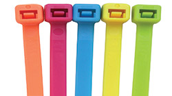 Five Coloured Nylon Cable Ties in Orange, Pink, Blue, Yellow and Green Fluorescent