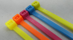 coloured nylon cable ties for identification, labelling & marking. Fluorescent colours for hi visibility & quicker recognition in darker environments