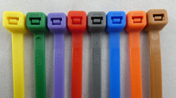 Plastic Nylon 66 Cable Ties In Mixed Colours: Blue, Grey / Silver, Green, Red, Orange, Pink, Yellow, Purple, Brown. Standard size 300 X 4.8mm