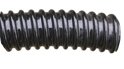 Black PVC Spiral Reinforced Conduit, IP65 Self Extinguishing. Flexible Cable Protection like Plastic Split Corrugated & Coated Steel Wiring Conduits