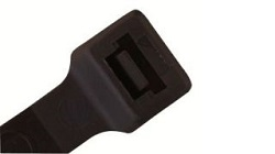 Standard Cable Tie Head Showing Tooth in Black Nylon. Also Known as Zip Ties and Tie Wraps