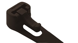 Releasable and Reusable Cable Tie Head Showing Release Lever in Black Nylon