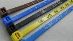. Phase & Utility Marking Printed Zip Ties. Sequentially Numbered Plastic Tie Wraps For Identification. Laser & Hot Foil Print. Coloured Nylon Cable Tie